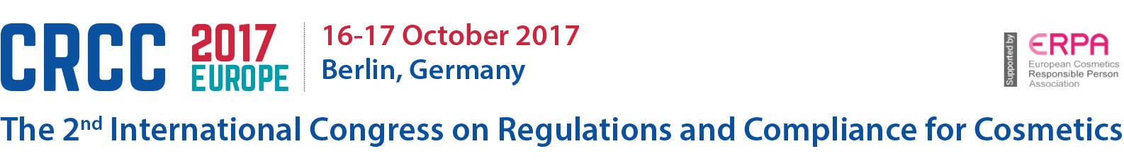 The 2nd International Congress on European Regulations and Compliance for Cosmetics (CRCC2017)
